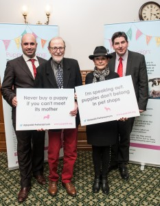 All Dogs Matter supporters Martin and Angela Humphery, with PupAid representatives Marc The Vet and Rob Flello MP