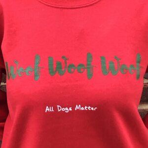 WOOF WOOF WOOF Festive Sweatshirt – Red